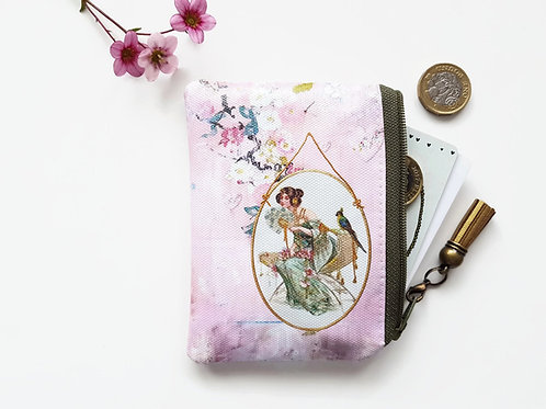 Chinoiserie card Wallet,novelty gifts,vegan leather pouch,vegan gift ideas,small