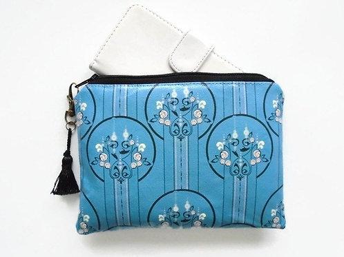 Art deco print wallet, faux leather vegan zipper pouch.
