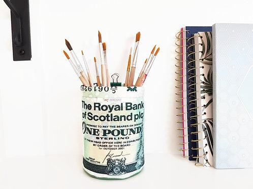 Pound Note Tall Mini Storage Bin,storage pots,colour block print,wall grid