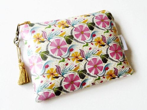 Pink and green floral style vegan vinyl wallet.