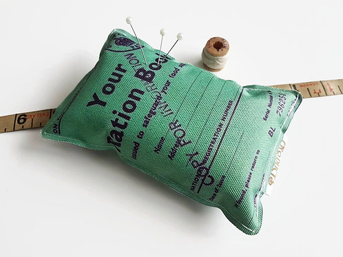 Ration book, Canvas Pin cushion,seamstress, tailor, crafter, desk tidy,pins