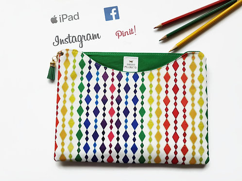 Harlequin colourful tablet sleeve, colour pop fabric,iPad pro 9.7