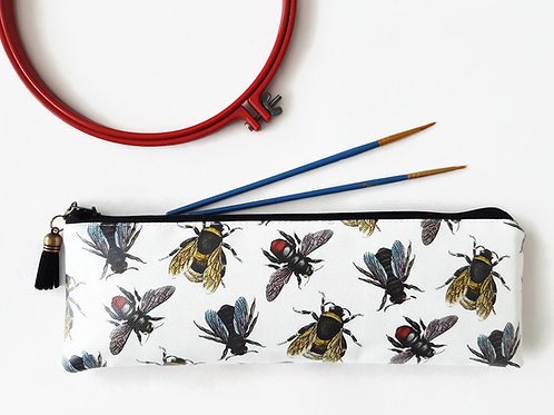bees fabric,water resistant bees pencil case,vegan bees leather pencil case
