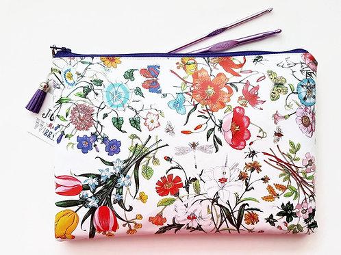 ultra violet, botanical print,purple wash bag, iPad sleeve,toiletry bag, make-up