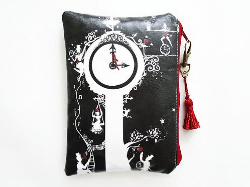Midnight circus, faux leather vegan zipper wallet.