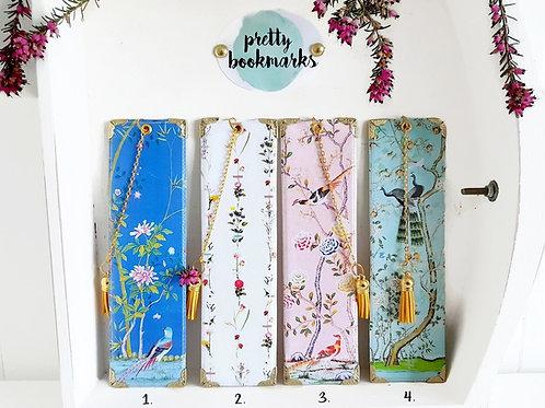chinoiserie,botanical,pretty bookmark,gold trim.