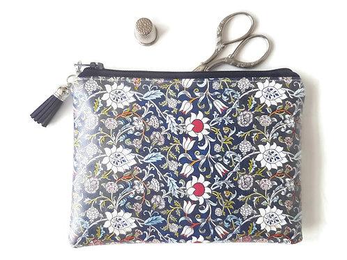 Navy with red flower vegan vinyl wallet, zipper pouch.