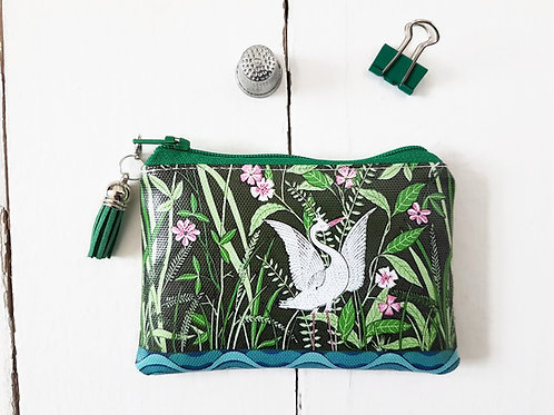 Crane print credit card wallet, zipper pouch in faux leather.
