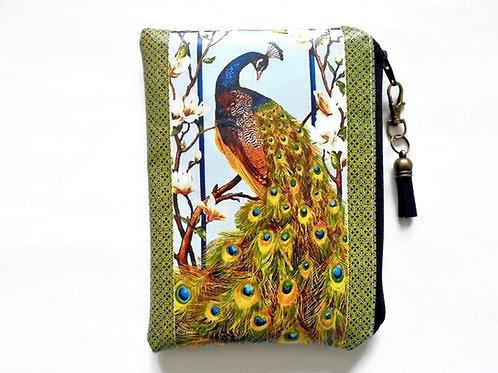 Green peacocks vegan vinyl zipper wallet.