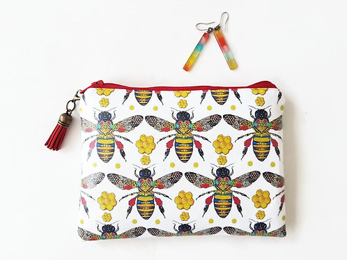 Honey bees water resistant wallet,bees zipper pouch,bees wallet,bees purse,bees