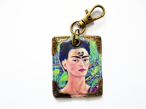 Frida Khalo faux leather bag tag,keyring,bag charm