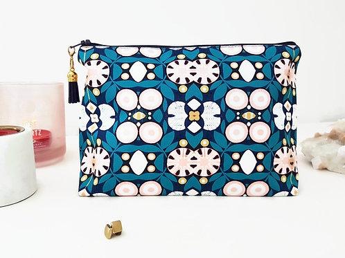 Canvas Navy and blush make-up bag, travel bag, cosmetic bag, zip bag.