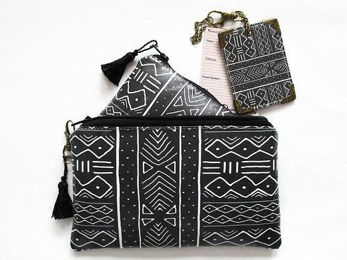 Mudcloth travel gift set, vegan vinyl wallets.