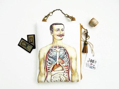 Anatomy hanging art bag, vegan vinyl pouch