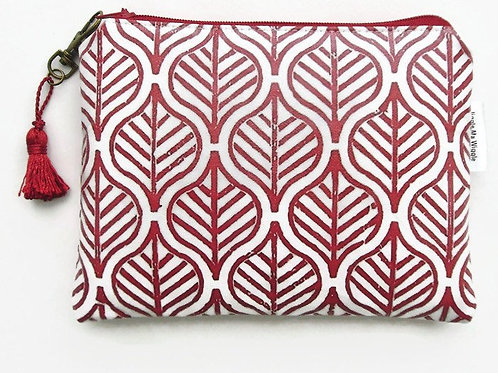 Red block print water resistant wallet,bees zipper pouch,bees wallet,bees pur