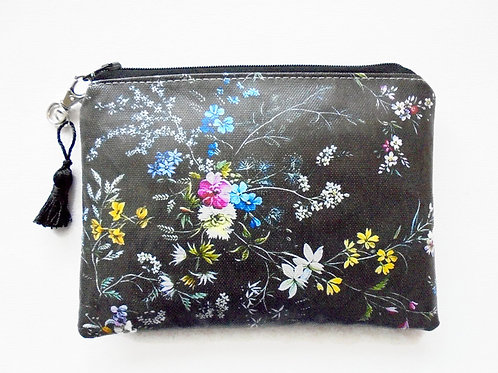 Antique floral vegan zipper wallet, faux leather pouch