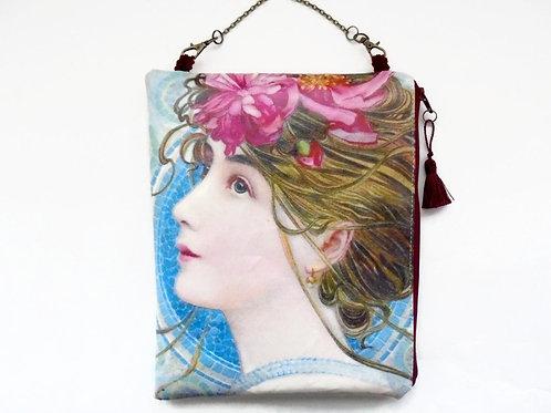 Hanging Cosmetic bag, 1900s pretty lady vegan vinyl bag.