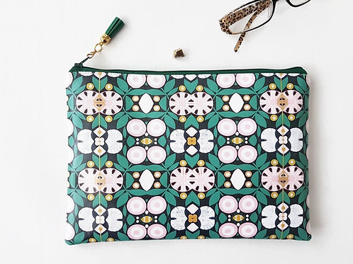 Pink and green water resistant pouch,faux leather makeup bag,