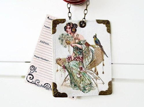Girl and Bird vintage style Luggage Tags,travel tags,bag tags.