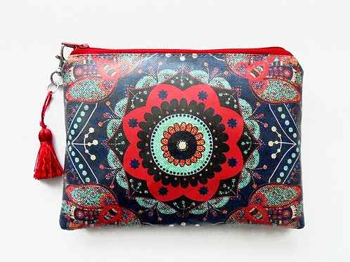Boho denim print vegan zipper wallet, faux leather pouch.