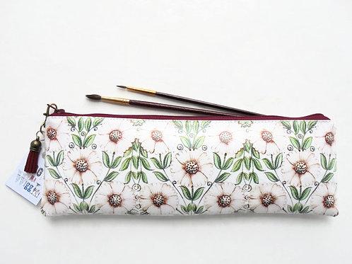 Berry, pink daisies, pencil bag, brush bag, crochet storage, pen pouch, pencil b