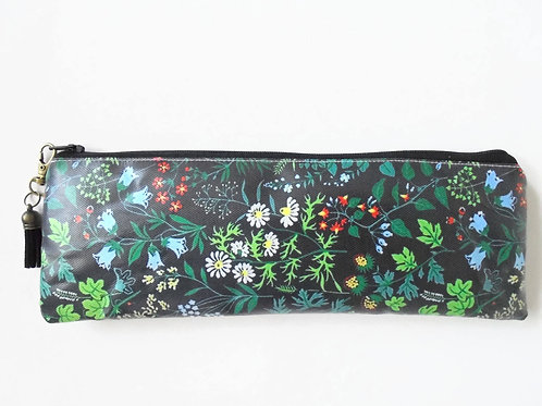 Back to school Art gifts, Waterproof Pencil Case, black Botanical print, greener