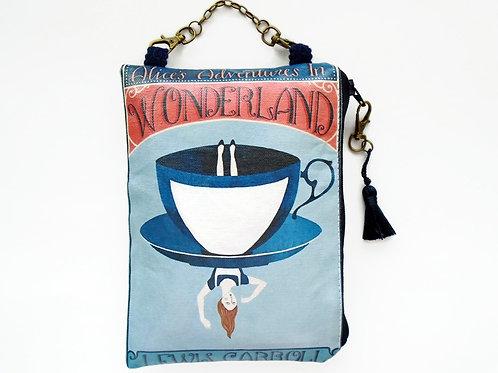 Alice in wonderland hanging wallet, vegan vinyl wallet.