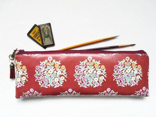 Burgundy floral indian inspiration, brush bag, crochet storage, eco gift, vegan