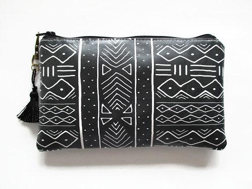 Mudcloth vegan trave wallet, faux leather zipper clutch.
