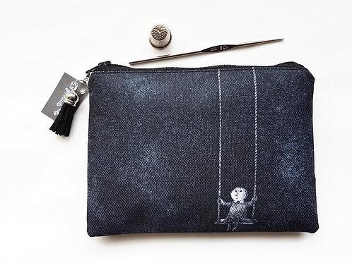 gorey,Edward gorey,zipper pouch,black wallet,eclectic wallet,zipper bag,zipper