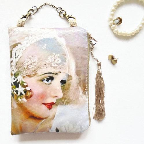 Art deco flapper girl hanging art bag, vegan vinyl pouch