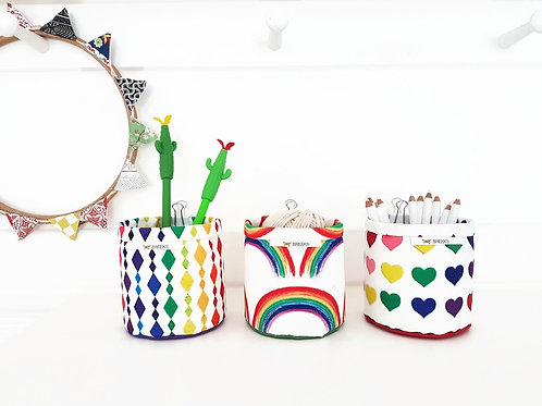 Mini Storage Bins,rainbow prints,lovehearts print,wall grid storage,bulldog clip