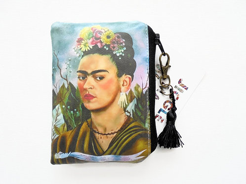 Frida khalo, credit card wallet, lipstick bag, vegan vinyl wallet.