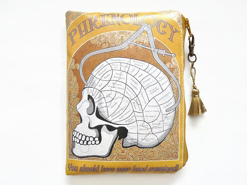 Phrenology zipper bag, vegan faux leather zipper pouch.