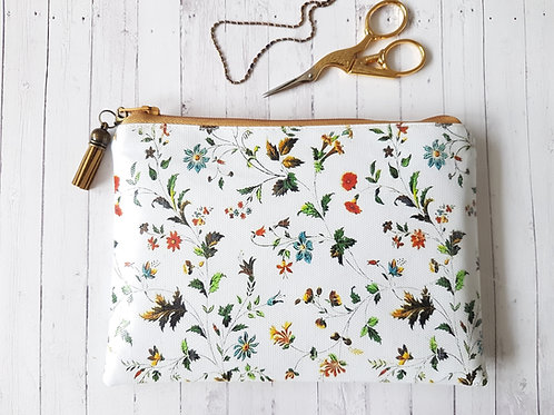 Autumn botanical vinyl waterproof vegan purse.