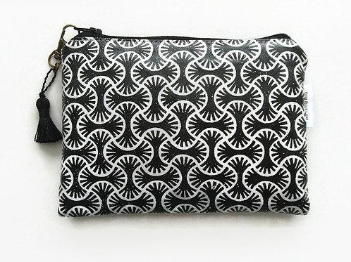 Black block print water resistant wallet,bees zipper pouch,bees wallet,bee