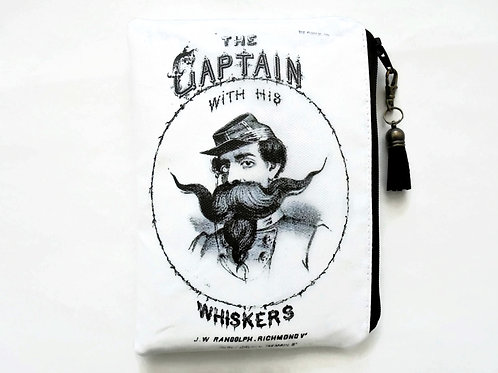 The captain and his whiskers, vegan faux leather zipper pouch wallet.