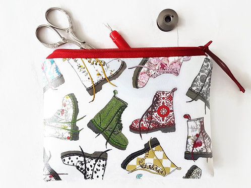 Dr.Marten illustration fabric,faux leather vegan pouch,patterned print,small mak