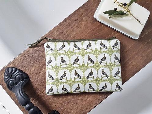 Pigeon print, bird brint, vegan wallet.