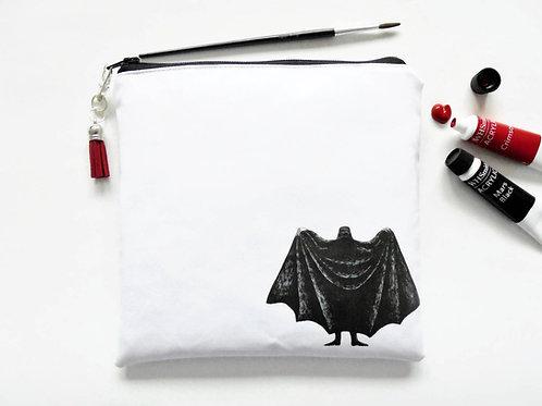 Gorey dracula square vegan vinyl zipper bag.