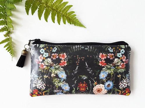 Dark botanical phone sleeve,phone pouch,phone wallet,phone storage,botanical fab