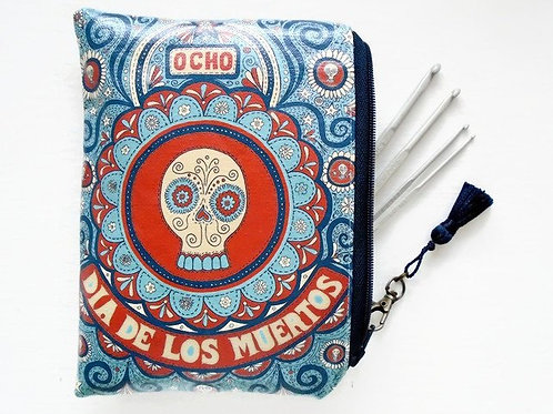 Day of the dead wallet, vegan faux leather zipper pouch bag.