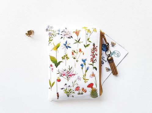 Botanical spray vegan credit card wallet, zipper pouch in faux leather.