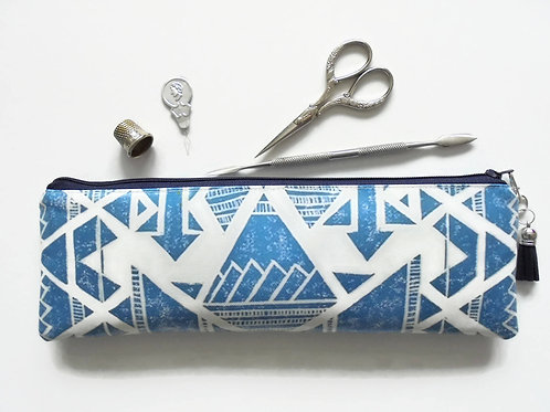 Aztec tribal vegan faux leather pencil case, zipper pouch.
