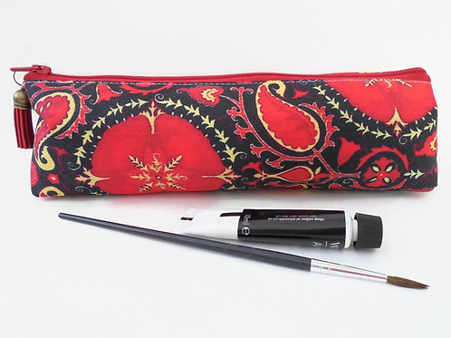 Art gifts, pencil case pouch, paisley pattern, antique style paisley, pencil bag