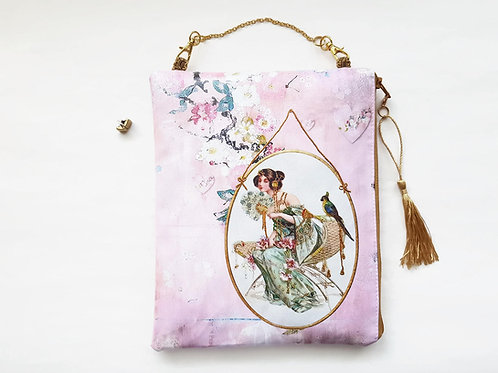Hanging  Bag,pink chinoiserie,hanging storage,vegan bag,eco friendly pou