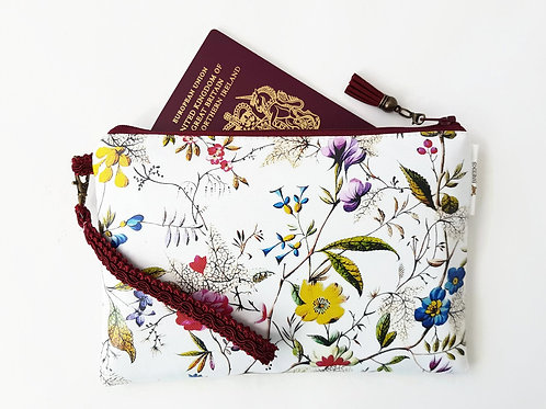 Floral vegan leather wristlet clutch,credit card pockets and phone seperator