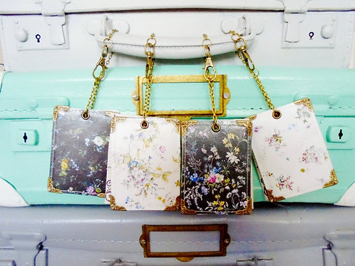 Antique Florals Luggage Tags,travel tags,bag tags.