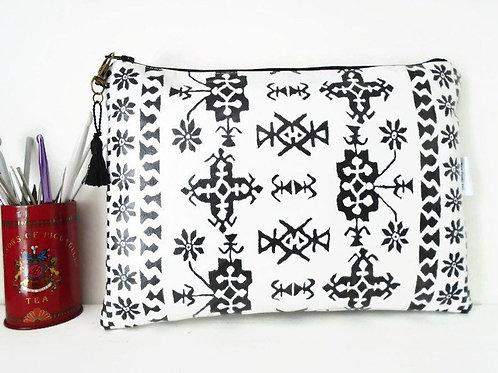 Monochrome tribal vegan cosmetic bag, faux leather zipper wash bag.