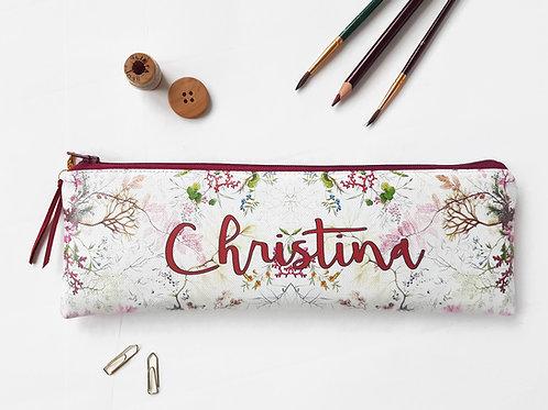 Personalised burgundy wine Botanical Vegan Pencil Case.